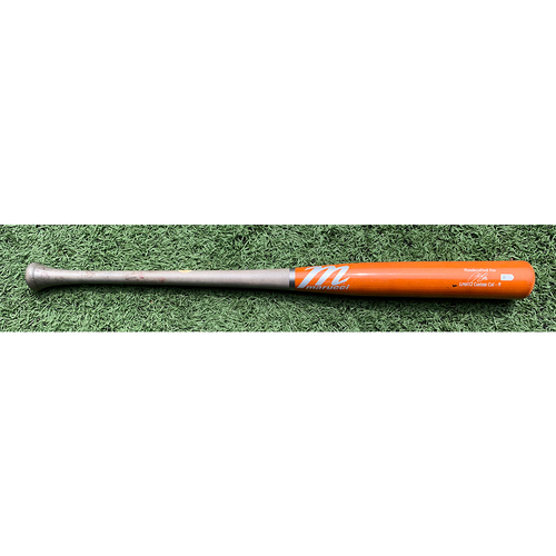 Photo of Francisco Lindor #12 - Team Issued Cracked Bat - Orange and Grey Marucci Model - 2021 Spring Training