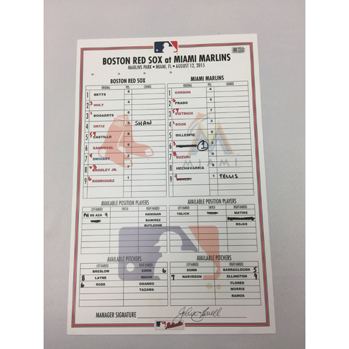 Photo of August 12, 2015 Red Sox at Marlins Game-Used Lineup Card - David Ortiz Career HRs 490 and 491