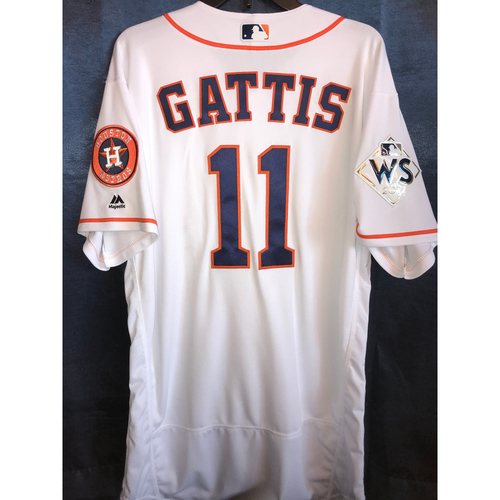 Photo of 2017 World Series Team-Issued Evan Gattis Home Jersey