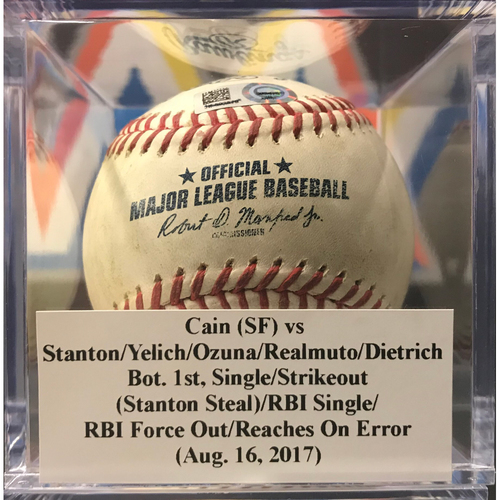 Photo of Game-Used Baseball: Giancarlo Stanton Single & Stolen Base, Christian Yelich Strikeout, Marcell Ozuna RBI Single, J.T Realmuto RBI (August 16, 2017)