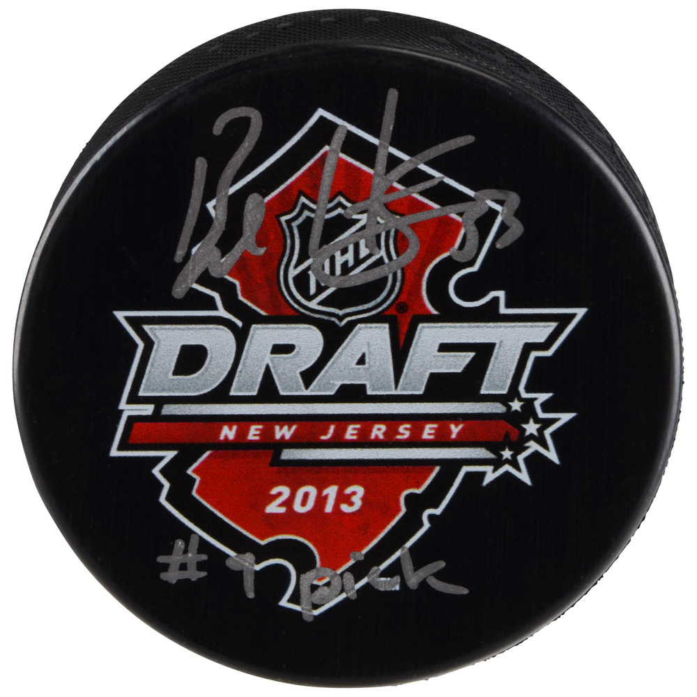 Bo Horvat Vancouver Canucks Autographed 2013 NHL Draft Logo Hockey Puck with #9 Pick Inscription