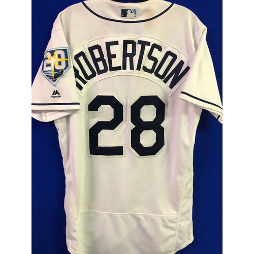 Photo of 20th Anniversary Game Used Home White Jersey: Daniel Robertson (3-6, RBI, R) - Game Winning Walk-Off Single - July 9, 2018 v DET
