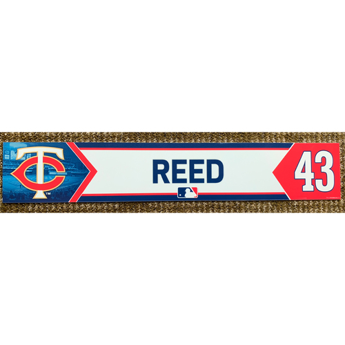 Photo of 2018 Game-Used Addison Reed Minnesota Twins Lockertag