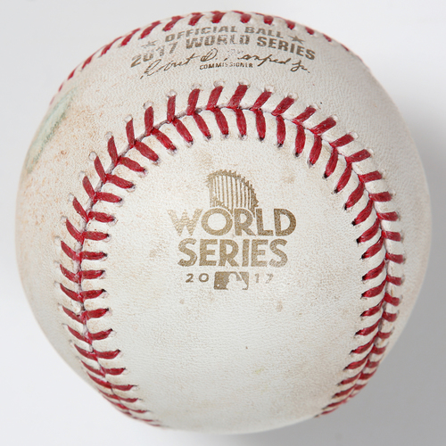 Photo of Game-Used Baseball: 2017 World Series Game 5 - Los Angeles Dodgers at Houston Astros - Batter: Joc Pederson, Pitcher: Brad Peacock - Top of 8, Double