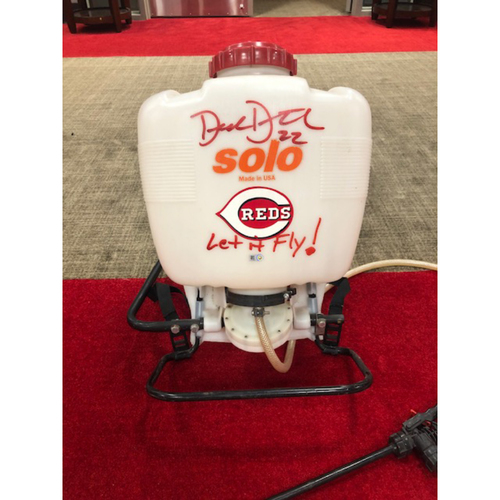 Photo of Derek Dietrich -- Autographed Bee Sprayer Used by Derek Dietrich -- From Reds Bee Delay on May 6, 2019
