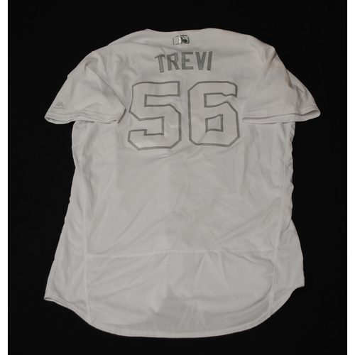 "Photo of Jose ""TREVI"" Trevino Texas Rangers Game-Used 2019 Players' Weekend Jersey"