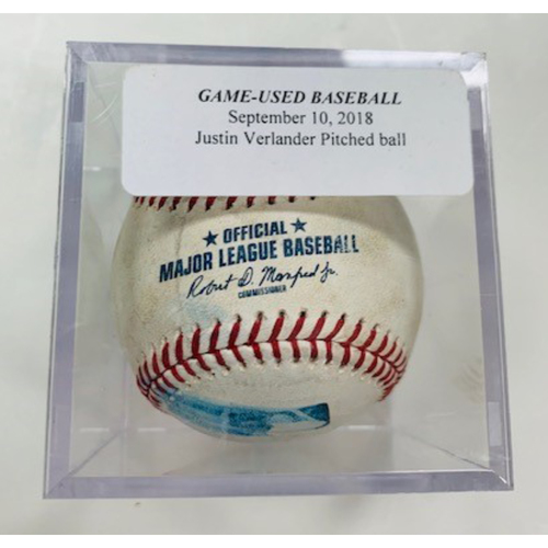 Photo of Game-Used Baseball: Justin Verlander Pitched to Victor Martinez