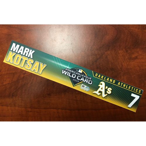 Photo of Mark Kotsay Game-Used 2019 A.L. Wild Card Locker Nameplate