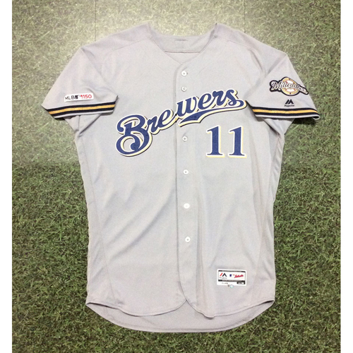 Photo of Mike Moustakas 09/14/19 Game-Used Road Grey Jersey - 2-3, 2-Run HR (#34)