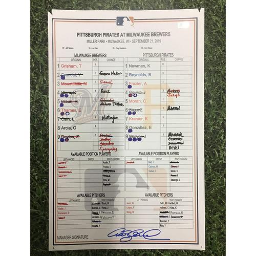 Photo of PIT @ MIL 09/21/19 Game-Used Lineup Card - Keston Hiura HR #18