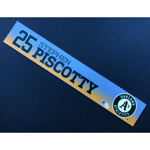 Photo of Game Used 2020 Spring Training Locker Nameplate - Stephen Piscotty