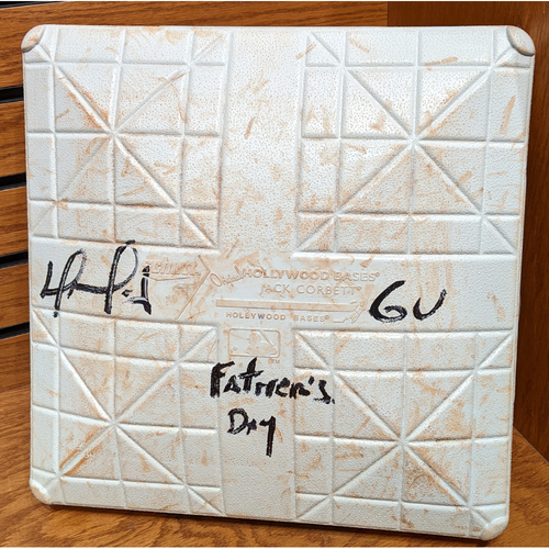 Photo of David Ortiz Autographed 'GU Father's Day' June 19th, 2016 Red Sox vs. Mariners Game Used 3rd Base
