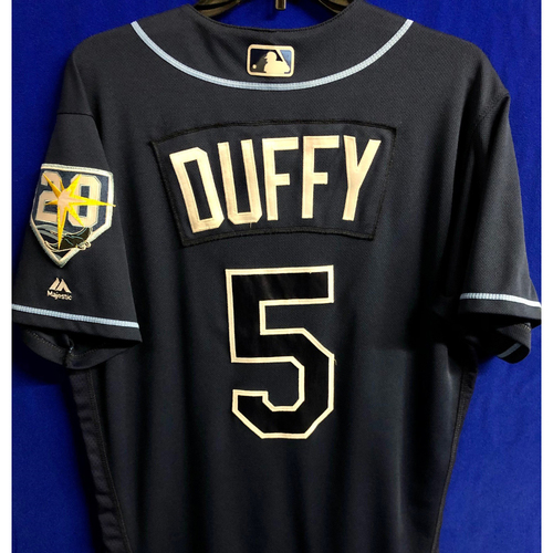 Photo of Game Used 20th Anniversary Navy Jersey: Matt Duffy - September 29, 2018 v TOR