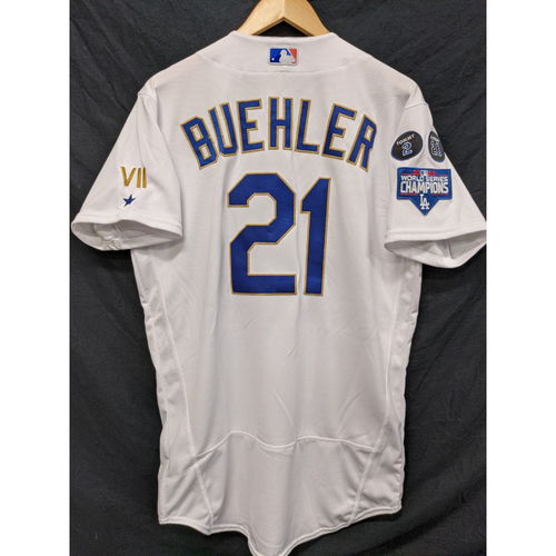 Photo of Walker Buehler Game-Used Gold Trim Re-Opening Day Jersey - 6/15/21