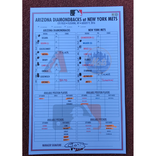 2016 Game-Used Line-Up Card - Arizona Diamondbacks @ New York Mets August 9th, 2016