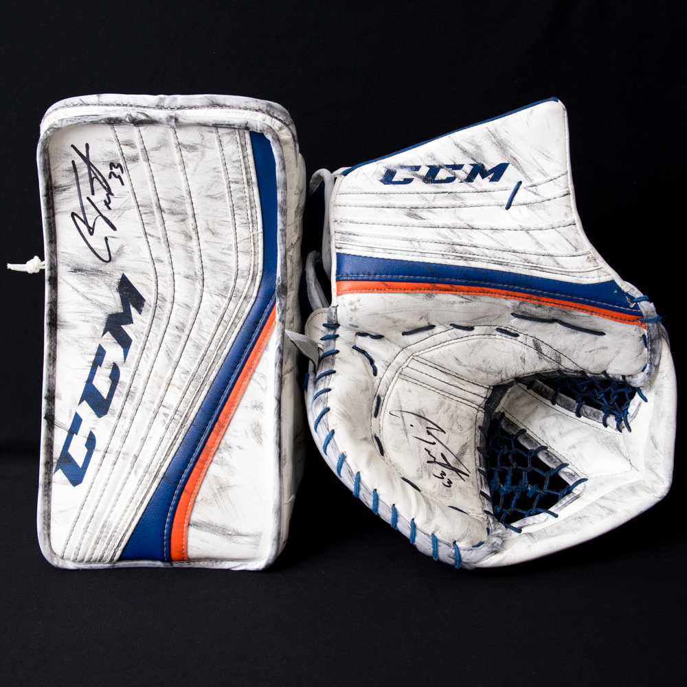 Cam Talbot #33 - Edmonton Oilers Game-Worn CCM Goalie Blocker & Trapper - Both Gloves Worn As A Set During 2017-18 Preseason And The Trapper Has Been Photo-matched To The 2017 NHL Play-offs!