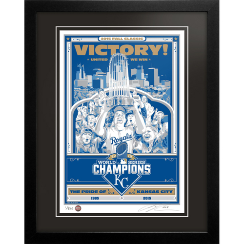 Photo of 2015 Kansas City Royals World Series Champions Handmade Serigraph, Edition #1, Signed by Artist & Framed