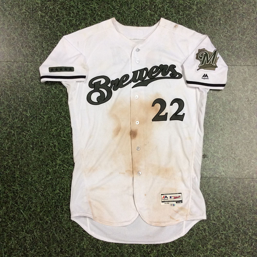 Photo of Christian Yelich 2018 Game-Used Memorial Day Tribute Jersey - 8-14, 2B, 3B, HR, 2 SB, 4 RBI, 8 R (5/26/18 - 5/28/18)