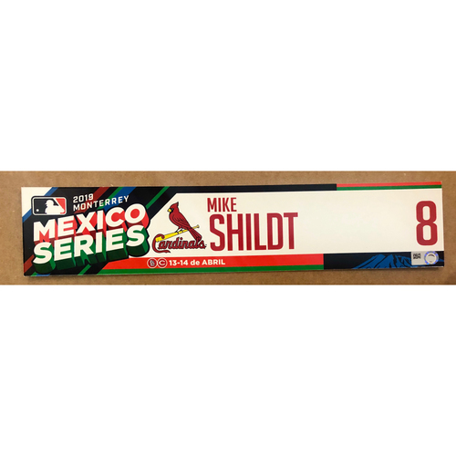 Photo of 2019 Mexico Series - Game Used Locker Tag -Mike Shildt -  St. Louis Cardinals