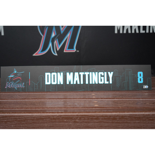 Photo of Game-Used Locker Tag: Don Mattingly (Opening Day - March 28, 2019)