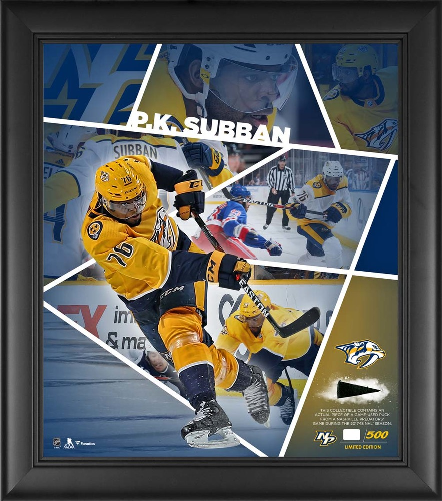 P.K. Subban Nashville Predators Framed 15'' x 17'' Impact Player Collage with a Piece of Game-Used Puck - Limited Edition 76 of 500