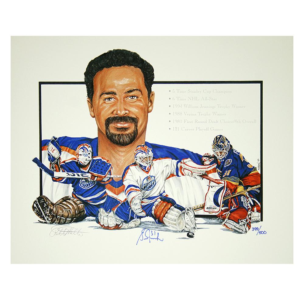 Autographed Grant Fuhr Lithograph W/ Career Achievement's - Edmonton Oilers