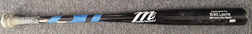 Photo of Authenticated Game Used Cracked Bat - Brett Lawrie 2 Piece Broken Bat following Strikeout vs Cesar Ramos (May 8, 13 vs TB). Top 8.