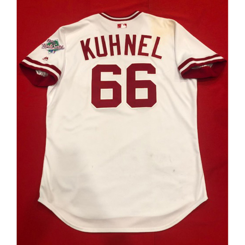 Photo of Joel Kuhnel -- Game-Used 1990 Throwback Jersey -- Cardinals vs. Reds on Aug. 18, 2019 -- Jersey Size 48
