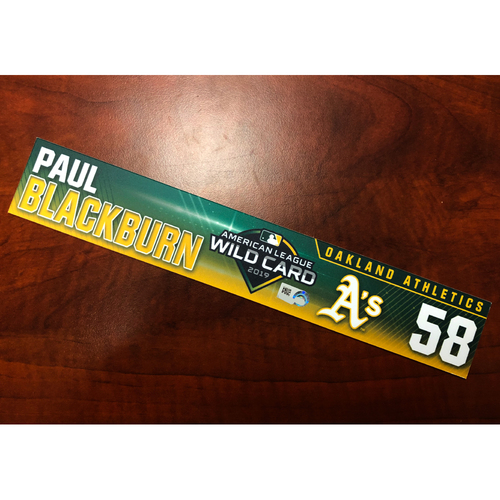 Photo of Paul Blackburn Game-Used 2019 A.L. Wild Card Locker Nameplate