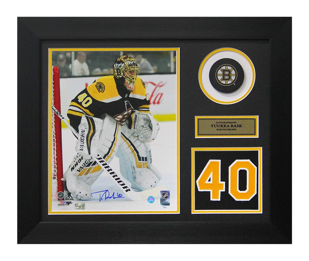 Tuukka Rask Boston Bruins Autographed Action Jersey Number 20x24 Frame #/40