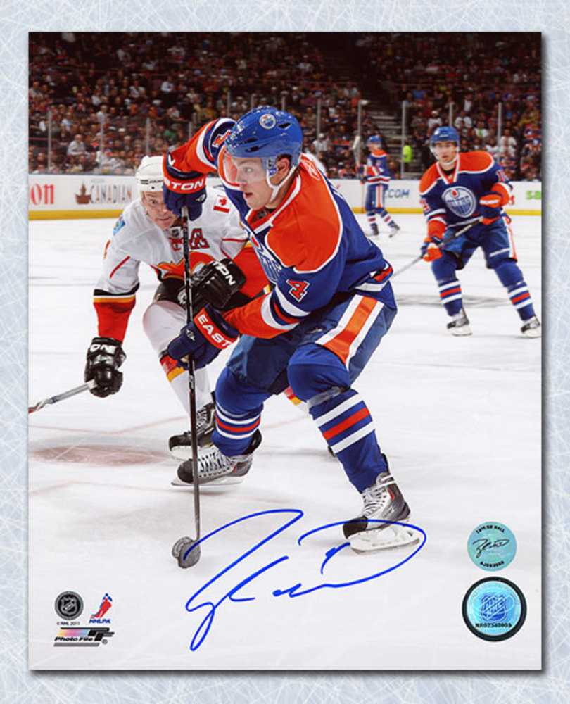 Taylor Hall Edmonton Oilers Autographed 1st NHL Game 8x10 Photo