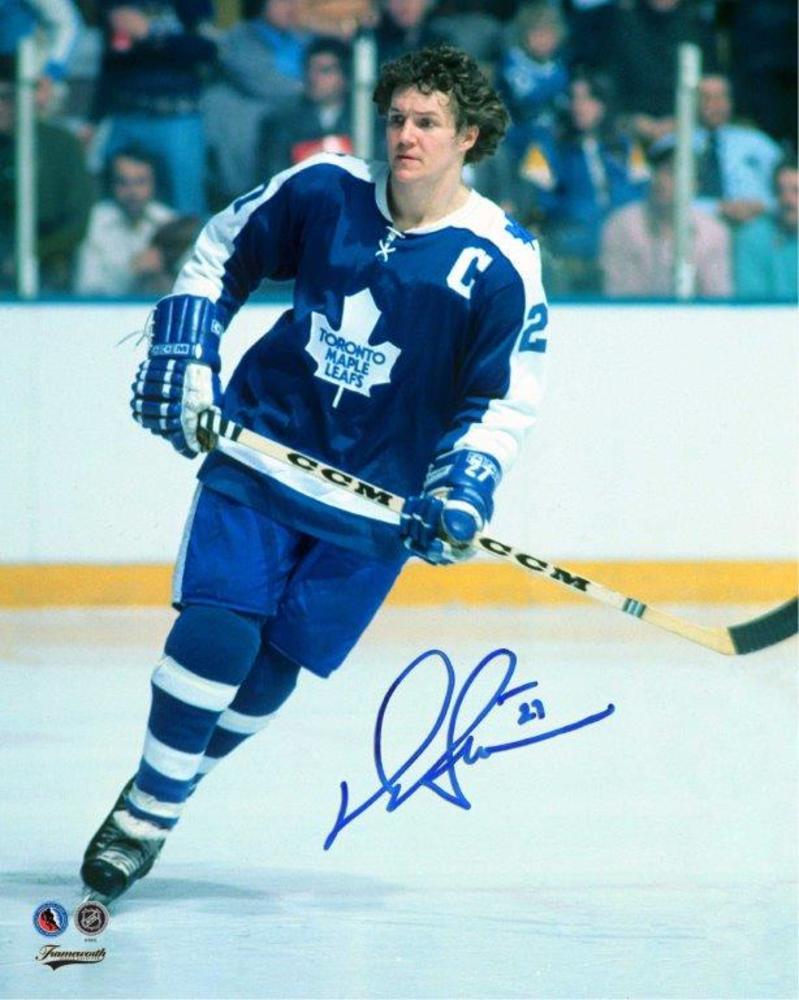 Darryl Sittler Signed 8x10 Unframed Leafs Blue
