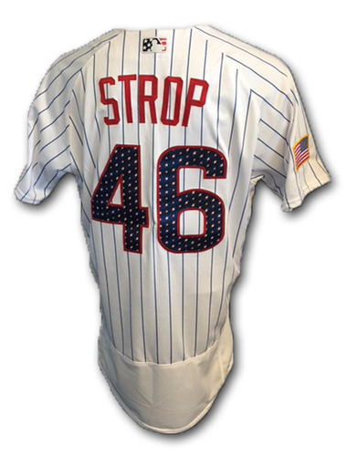 Photo of Pedro Strop Stars and Stripes Game-Used Jersey -- Tigers vs. Cubs -- 7/4/18