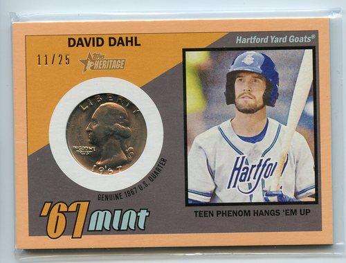 Photo of 2016 Topps Heritage Minors '67 Mint Relics Quarter Peach #67MDD David Dahl 11/25