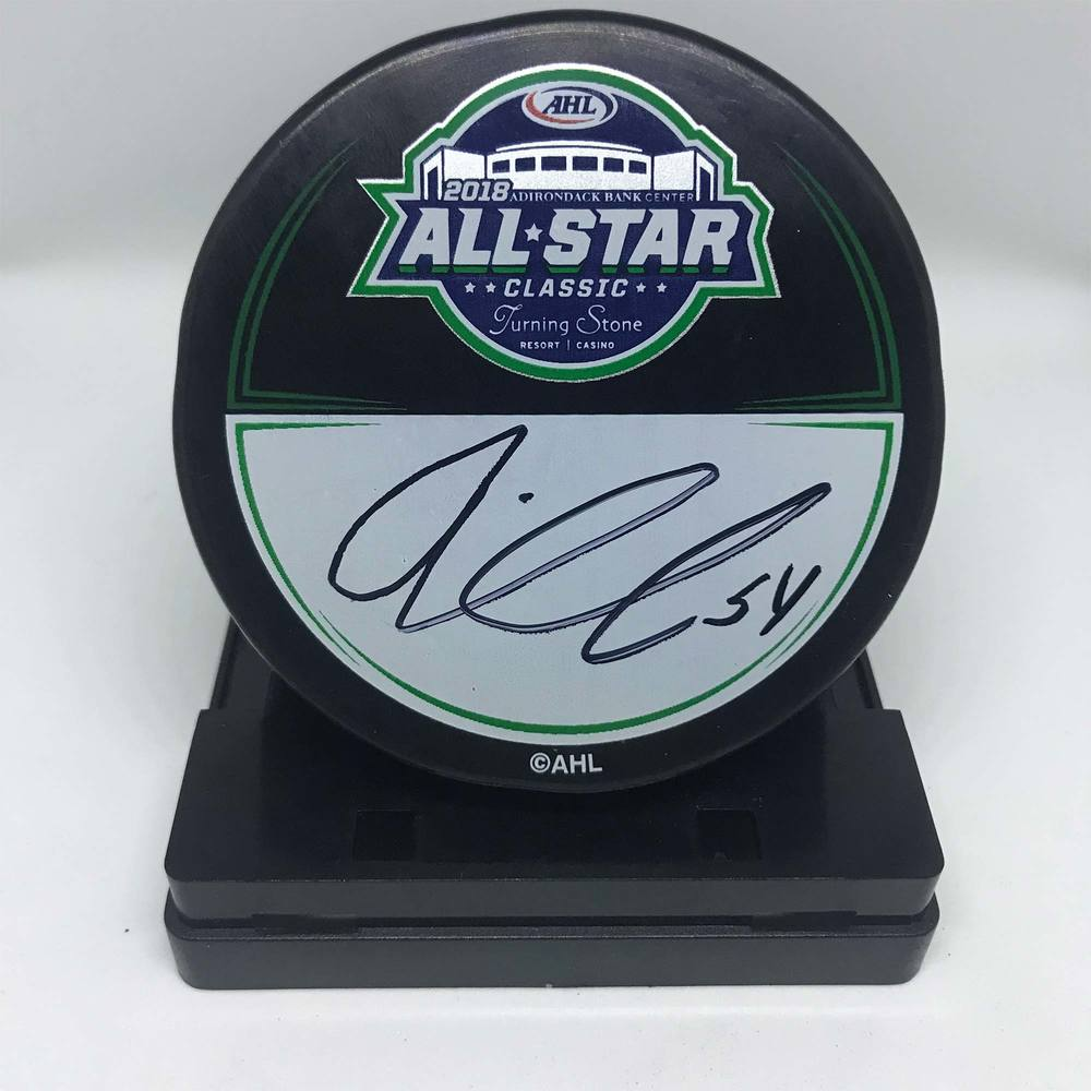 2018 AHL All-Star Classic Souvenir Puck Signed by #54 Oskar Lindblom