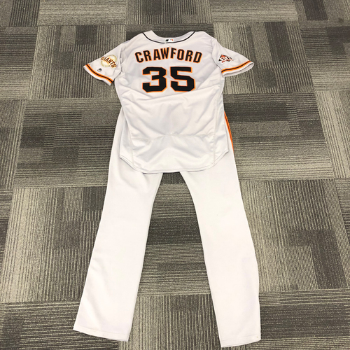 Photo of 2018 Game Used Road Alternate Jersey and Team Issued Road Pants - used by #35 Brandon Crawford on 9/23/18 - HOMERUN - Jersey Size: 48 -- Pant Size: 36-43-37