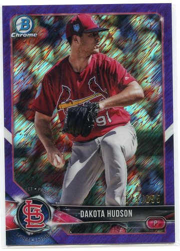 Photo of 2018 Bowman Chrome Prospects Purple Shimmer Refractors #BCP176 Dakota Hudson