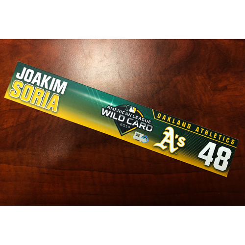Photo of Joakim Soria Game-Used 2019 A.L. Wild Card Locker Nameplate