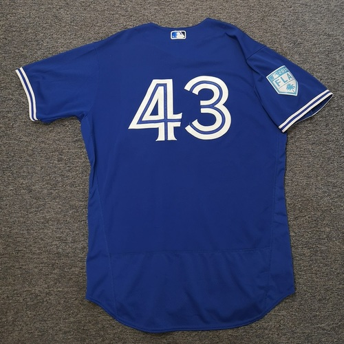 Photo of Authenticated Game Used 2019 Spring Training Jersey - #43 Sam Gaviglio (Mar 25: 2 IP, 2 Hits, 0 ER, 4 Ks). Size 48