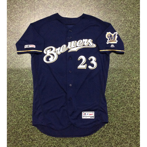Jordan Lyles 09/25/19 Game-Used Navy Alternate Jersey - 5.0 IP, 3 H, 2 ER, 2 BB, 6 SO, Win #12 (Brewers Clinch Postseason Berth)