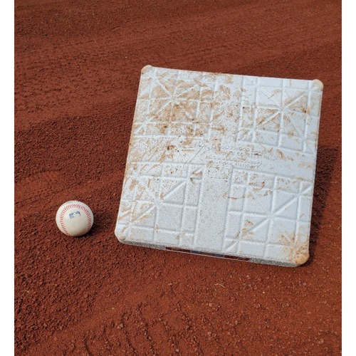 Photo of 2020 Phillies Game-Used Baseball & Base - Alec Bohm Home Run (Back-to-Back-to-Back)