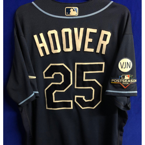Photo of Game Used Wild Card and ALDS Navy Jersey: Paul Hoover - 2 Games - October 2019 at OAK and HOU