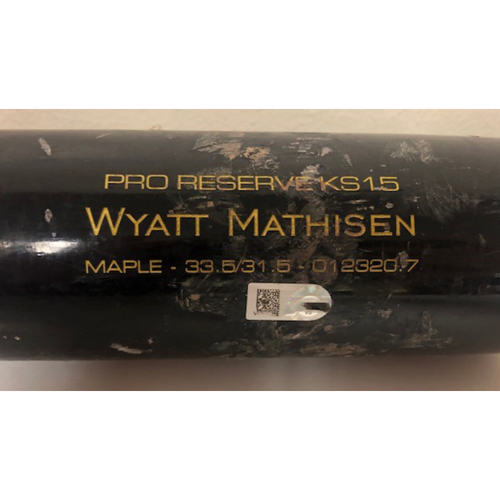 Photo of Wyatt Mathisen Game-Used Broken Bat with Jackie Robinson Day Branded Tape - 4/22/2021 at Cincinnati Reds - Bat Broken in Top 7 (Foul Ball vs. Sean Doolittle) - D-backs Win 14-11