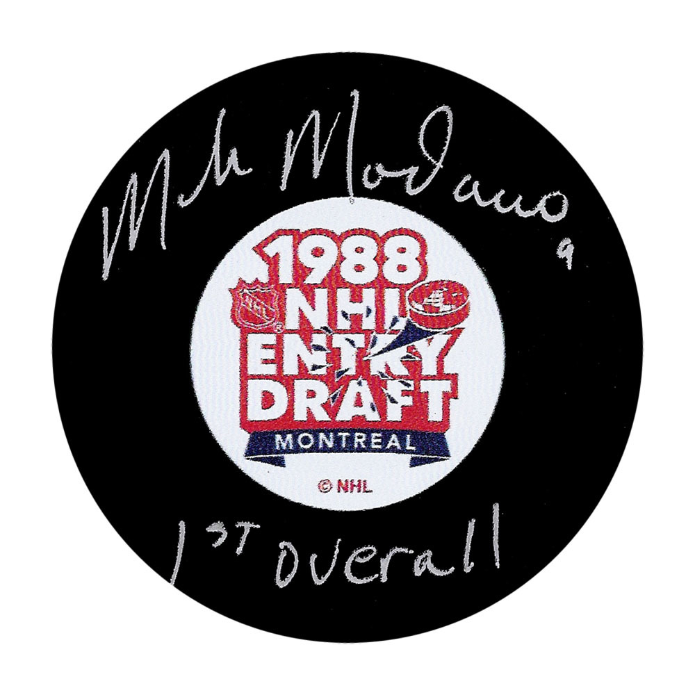 Mike Modano Autographed 1988 NHL Draft Puck w/1ST OVERALL Inscription