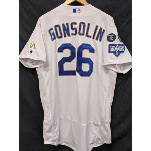 Photo of Tony Gonsolin Game-Used Gold Trim Re-Opening Day Jersey - 6/15/21