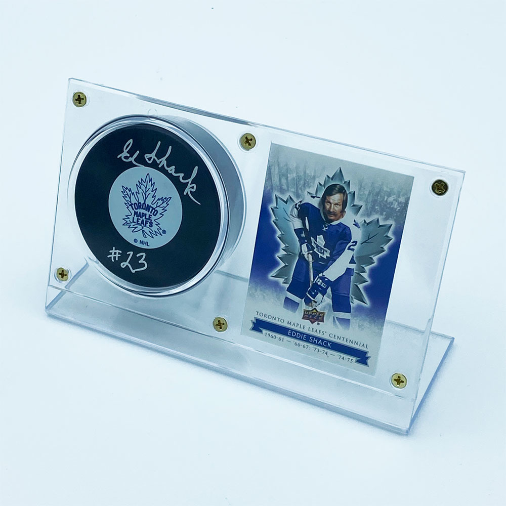 Ed Shack Autographed Toronto Maple Leafs Puck w/Card Display