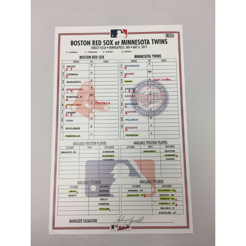 May 6, 2017 Red Sox at Twins Game-Used Lineup Card - Red Sox Win 11 - 1