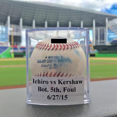 Game-Used Baseball: Kershaw vs Ichiro - 6/27/15