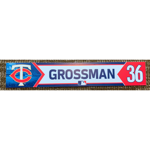 Photo of 2018 Game-Used Robbie Grossman Minnesota Twins Lockertag