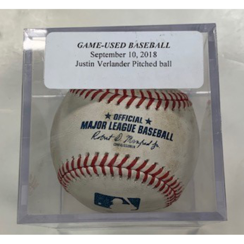 Game-Used Baseball: Pitched by Justin Verlander 2018